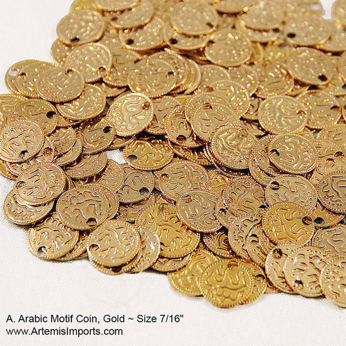 "Belly Dance Coins for Costuming - Gold Arabic Motif Coin, Size: 7/16"", do it yourself, use these coins to create your own belly dance costume with gold tone coins."