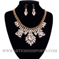 Belly Dance Necklace & Earring Set in Clear Crystals