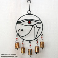 Eye Of Horus Chime with Bells and Beads with Red Eye and Red Beads.