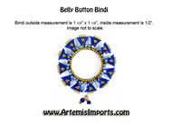 Gorgeous Blue & Gold Belly Button Bindi (Bindi-0559)