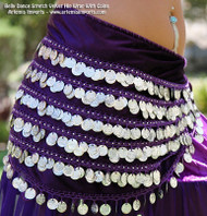 Belly Dance Stretch Velvet Hip Wrap With Coins