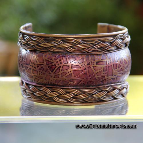 Belly Dance - Celtic Design Copper Cuff Bracelet
