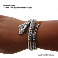Belly Dance Bracelet - Two Circles Coiled Silver Snake Bracelet