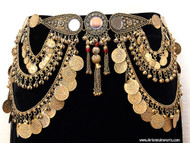 Belly Dance / Tribal Coin Belt With Binty Bells, Coins & Mirror Medallion - Gold, Silver or Copper