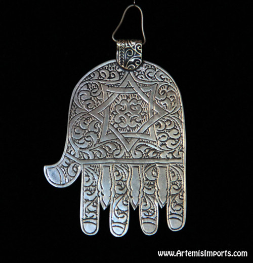 Hand of Fatima / Hamsa ~ Large Engraved