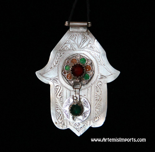 Hand of Fatima / Hamsa ~ Large With Hanging Coin, Berber