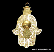 Hand of Fatima / Hamsa ~ Large With Small Hand of Fatima Hanging From Center Gold Tone Metal