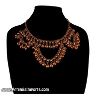 Belly Dance Necklace with Loops & Binty Bells - Copper