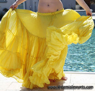 "Belly Dance / Tribal / Gypsy - Cotton 25 Yard Gypsy Skirt - Lovely full 4 tier, 25-yard skirt is lightweight and comfortable. One size fits approximately size 4 to size 14. This skirt has an elastic waistband with drawstring to fit approximately 27"" to 46"" hip; length approximately 37"". Yellow"