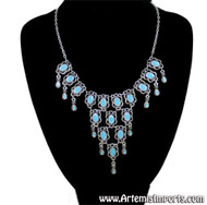 Silver Tone Statement Necklace - Turquoise