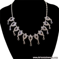"""Antique Look"" Diamond Shape Silver Tone and Black Enamel Necklace"
