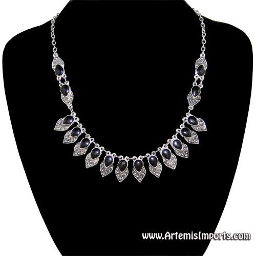 """""""Antique Look"""" Silver Tone & Black Enamel Necklace"""