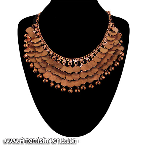 Belly Dance Necklace with 3 Rows of Smooth Coins & Bells - Copper tone