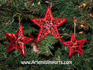 Hand Painted Christmas Ornaments - Star Sets in Three Sizes - Red, Black and Gold