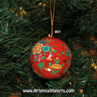 Christmas Ornament - Hand Painted Large Round Ornament