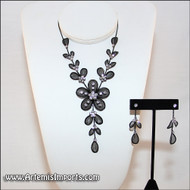 Belly Dance Necklace & Earrings in Black Wire & Clear Rhinestones