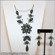 Belly Dance Necklace & Earrings in Black Wire & Green Rhinestones