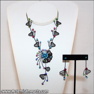 Belly Dance Necklace & Earrings in Black Wire & Multi-Color Rhinestones