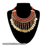 Belly Dance Coin & Cord Necklace in Gold Tone Metal with Red Beads and Red Cord.