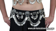 Belly Dance Belt / Tribal Belly Dance Belt With Coin Swags & Medallion