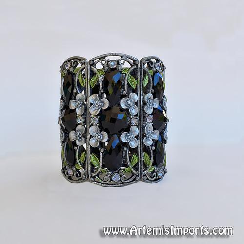 Belly Dance - Dark Silver & Black Rhinestone Antique Inspired Cuff Bracelet