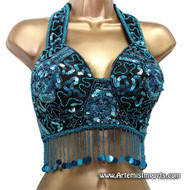 Belly Dance Bra ~ Turquoise Beads, Sequins with Satin Straps ( SP412) Large