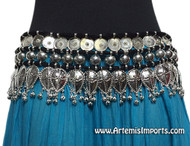 Belly Dance Belt / Tribal Belly Dance Belt Black Cord and Silver Medallion