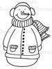 Bundled Up Snowman Digital Stamp