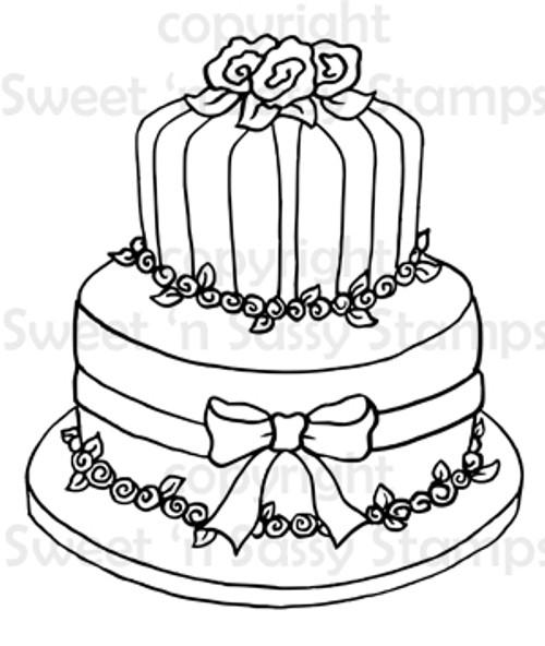 Flower Cake Digital Stamp