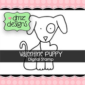 Valentine Puppy with Sentiment Digital Stamp