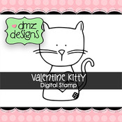 Valentine Kitty with Sentiment Digital Stamp