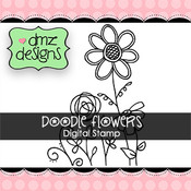 Doodle Flowers Digital Stamp