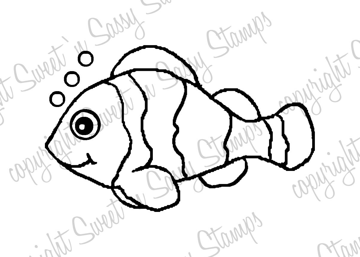 clown fish outline template
