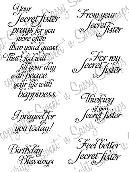 Secret sister sentiments digital stamp sweet n sassy stamps