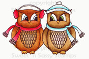 Winter Love Owls Colored Digital Stamp