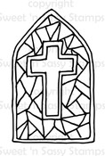 Stained Glass Cross Digital Stamp