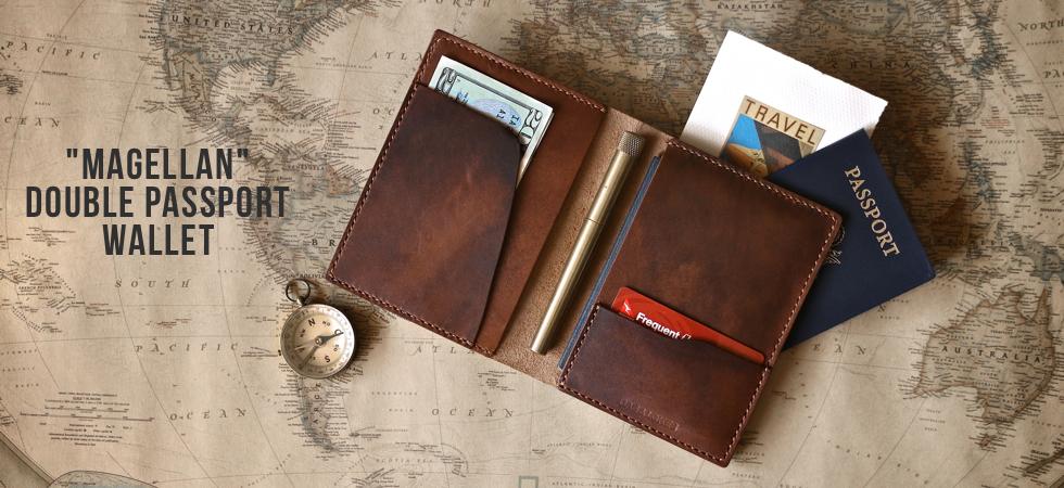 Handmade leather passport wallet