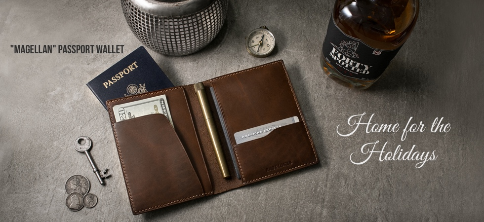 Magellan Walnut Leather Passport Wallet