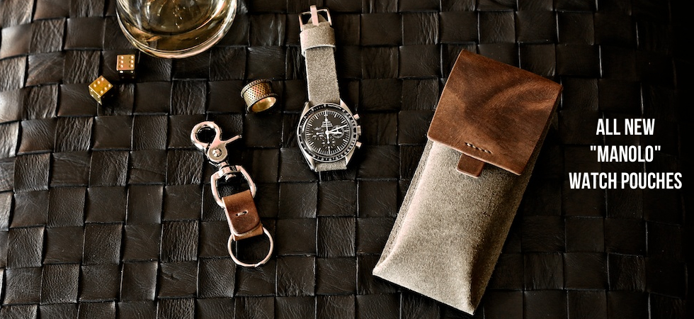 Handmade leather watch pouches