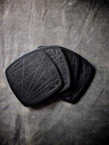 """Bubbly"" Black Handmade Leather Coaster"