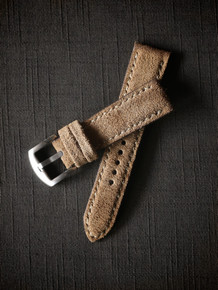 """Bronte"" Tan Suede Padded Watch Strap"