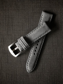 """Stockholm"" Light Grey Nubuck Padded Watch Strap"
