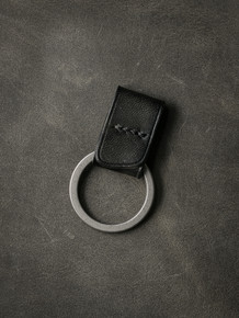 """Guardian"" Sleek Black Handmade Leather Key Fob"