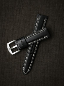 """Benton"" Black Padded Leather Watch Strap"