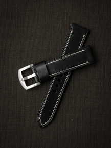 """Baxter"" Black Leather Watch Strap"
