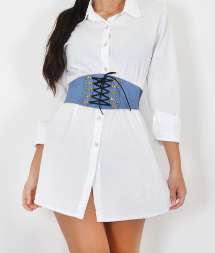 Denim Lace Up Corset Waist Belt