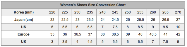 Dance Shoes Size Chart