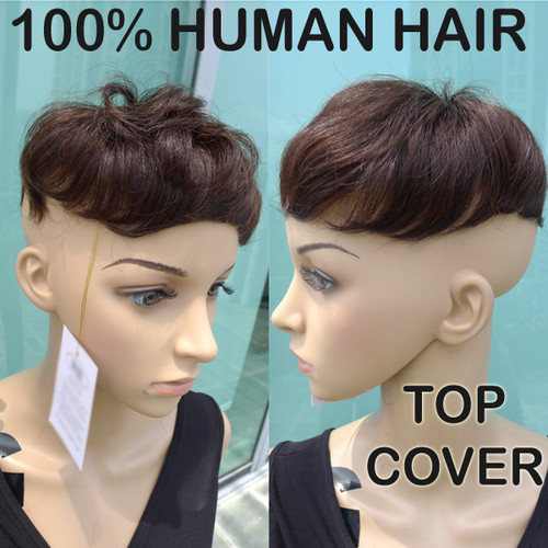 100% HUMAN HAIR TOP COVER FOR SHORT HAIR ( UNISEX )