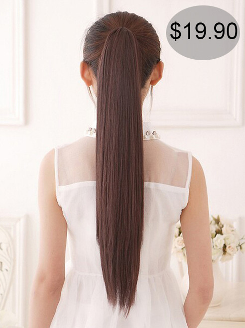 #105 rebonded straight ponytail claw clip on