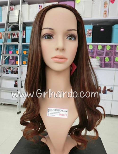 #9072 half wig straight top curls end non shiny heat friendly !